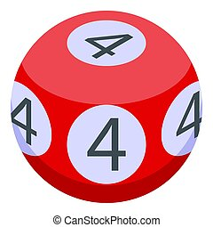 Four number lottery ball icon, isometric style