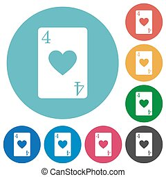 Four of hearts card flat round icons