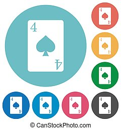 Four of spades card flat round icons