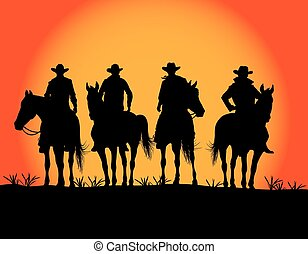 four of the cowboy on a background of sunrise