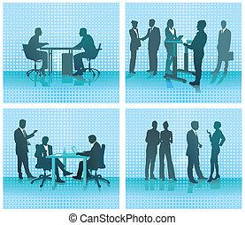 Four office scenes