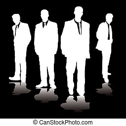 gangster - Four office workers standing in a gangster style ...