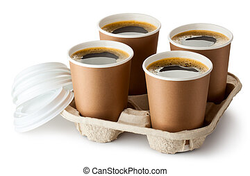 Four opened take-out coffee in holder. Isolated on a white.