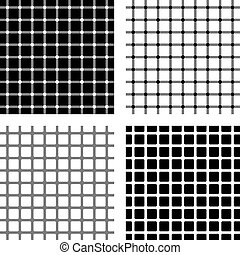 Four Optical illusions - Dark and white spots seem to appear...