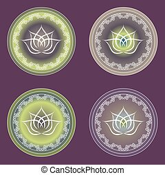 Four options of glowing lotus signs in purple and yellow colors