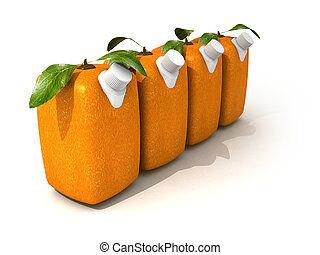 Four orange juices - 3D rendering of four Cubic oranges with...