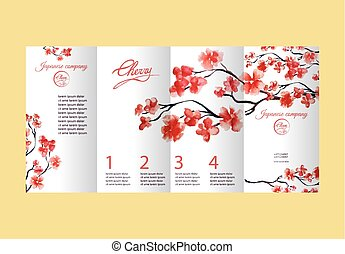 Four pages brochure with cherry blossom or sakura tree. Painted by watercolor. Corporate identity flyer design with logo element.