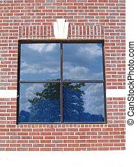 Four Paned Window on a Red Brick Wa