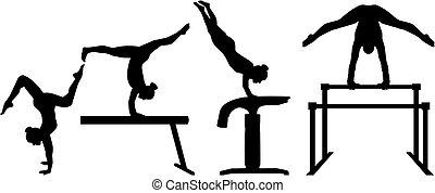 four-part, gymnastique, concurrence
