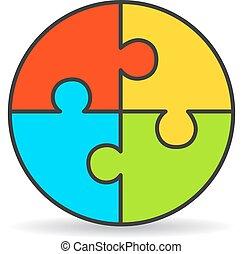 Four part process puzzle diagram
