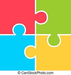Four part puzzle diagram, vector illustration
