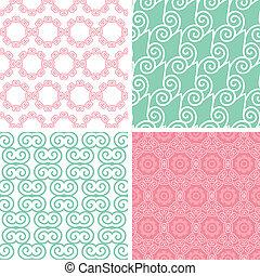 Four pastel abstract swirl motives seamless patterns set