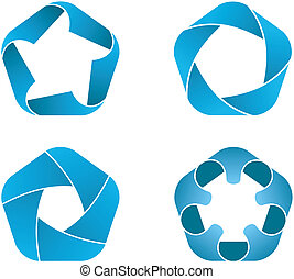 Four pentagon icons - Vector illustration of blue pentagon ...