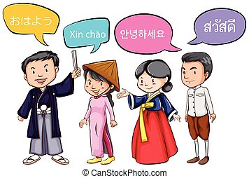 People in different costume based on culture illustration vector four people greeting in different languages m4hsunfo Images