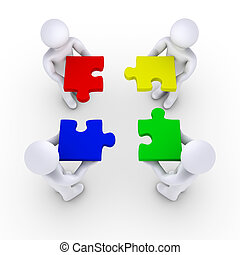 Four 3d people holding puzzle pieces