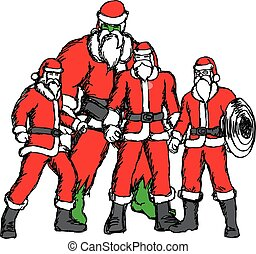 four people in Santa Claus costume vector illustration sketch hand drawn with black lines isolated on white background