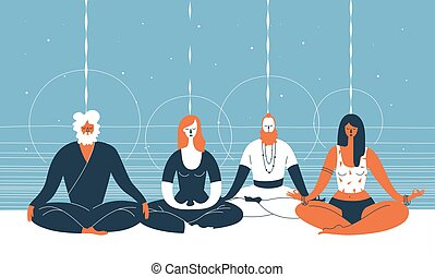 Four people sit with closed eyes and crossed legs and meditate against abstract blue background with horizontal lines and circles. Concept of group spiritual practice. Vector illustration for banner.