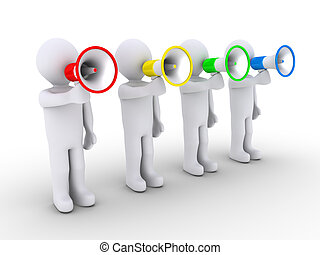 Four people speaking with megaphones - Four 3d people are...