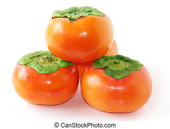 Four persimmons - stack of persimmon fruits isolated on ...