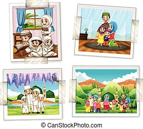 Four photo frames of muslim family