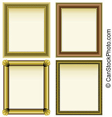Four picture frames - Four basic picture frames in gold and...