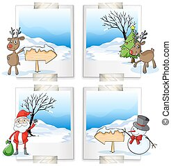 Four picture frames with christmas theme illustration