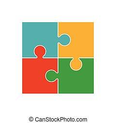 Four piece puzzle. 4 step process diagram