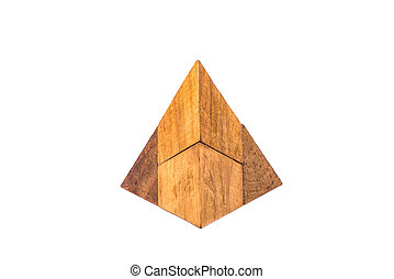 Four-piece pyramid. Wooden puzzle isolated on white background.