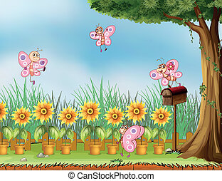 Four pink butterflies at the garden - Illustration of four...