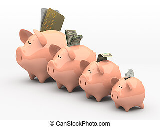 Four pink piggy banks showing profits and gains on white...