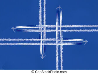 four planes that cross in the sky