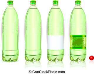 Four Plastic Bottles of Carbonated Drink With Labels -...