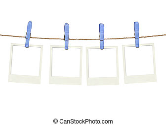 Four plastic clothespins and instant frame on rope