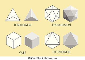 Quatre solides platoniques. Illustration vectorielle de la géométrie sacrée. ...