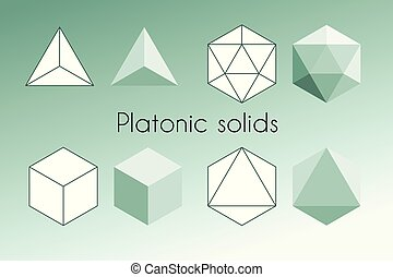 Four Platonic solids. Sacred geometry vector illustration. ...