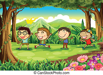 Four playful kids at the forest - Illustration of the four...