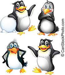 Four playful penguins - Illustration of the four playful...