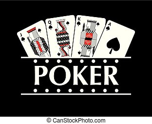 four playing spade cards poker banner