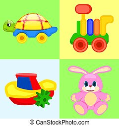 Four Playthings for Children Colorful Poster.