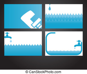 Four plumbing cards - Four business card designs for...