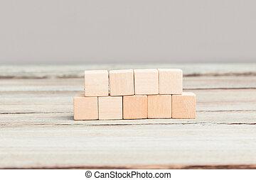 Four plus five blank wood cubes