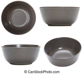 four point of view of empty bowl on white background