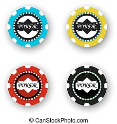 four poker chips isolated on white background