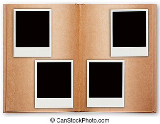 four polaroid frame with old book open