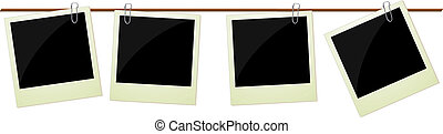 Four polaroid photos hanging on rop