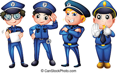 Four policemen - Illustration of the four policemen on a ...