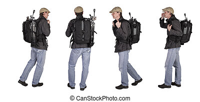 Four positions of a Photographer with backbag and tripod