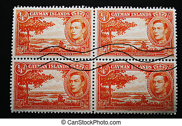 Four postage stamps of the Cayman islands