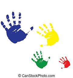 four prints of human hands on a white background. Vector