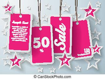 Four Purple Price Stickers With Stars